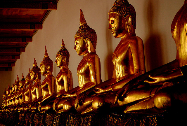 The Line of Buddhas at Wat Pho, Thailand, via Flickr