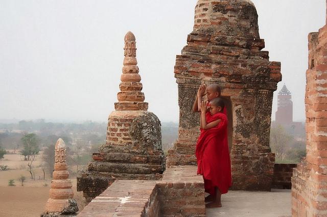 Young Monks at Sunset, Bagan, Burma