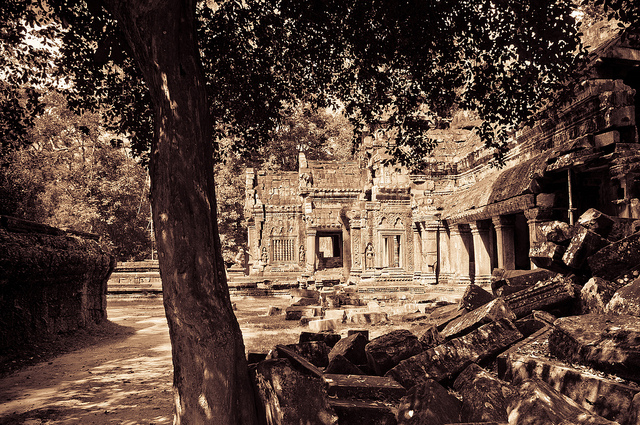 Ta Prohm temple at Angkor, Cambodia. It was built in the late 12 and early 13th centuries and originally called Rajavihara. Photograph by Mark Fisch via Flickrer