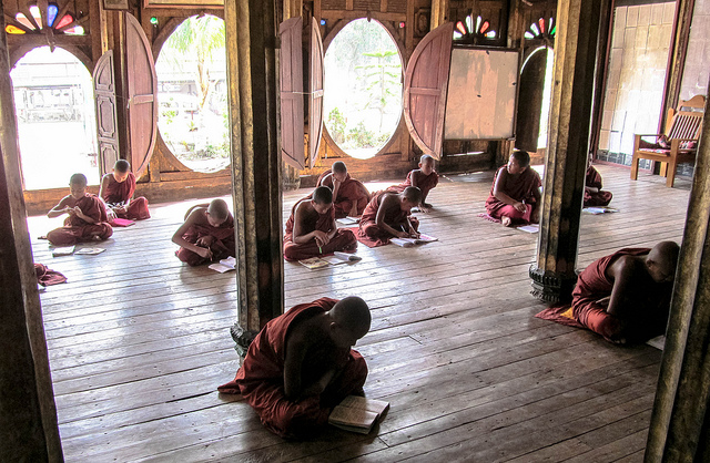Young Monks Studying in Myanmar. Photograph by P.W.Baker via Flickr.