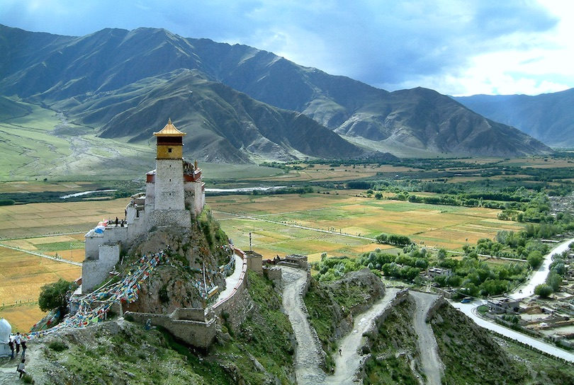 Yumbulagang Buddhist Monastery of Tibet. According to a legend it was the first building of Tibet and the former palace of the first Tibetan King Nyatri Tsenpo. Under the reign of the 5th Dalai Lama the palace became a monastery.