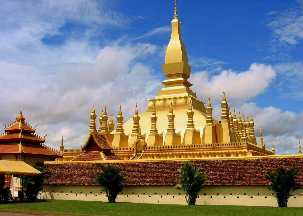 16th Century Pha That Luang Buddhist Temple at Laos